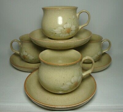 DENBY DAYBREAK 4 x TEA CUPS & SAUCERS IN VERY GOOD CONDITION