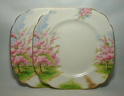 """ROYAL ALBERT BLOSSOM TIME 2 x 7 3/4"""" SQUARE SALAD PLATES IN VERY GOOD CONDITION"""