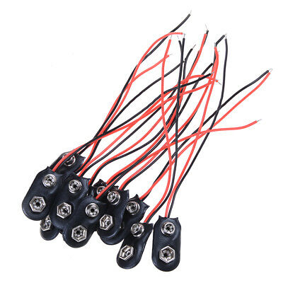 10pcs 9V batterie porte-clips connecteur dur Shell 10cm câble fil dm