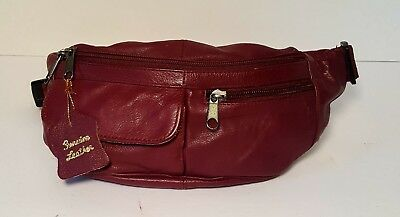 Vintage Fanny/Bum/Waist Bag Unisex Burgundy Leather Travel Vacation Storage EVC