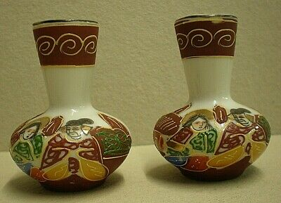 Pair Of Small Hand Pained Antique Japanese Cabinet / Posy Vases (ref B1)