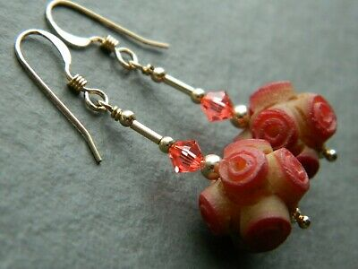 Art Deco Carved Coral Rose Celluloid Beads, Swarovski & 14K Rolled Gold Earrings