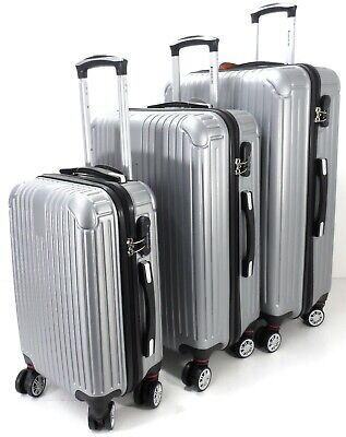 Set Of 3 Lightweight Hard Shell 8 wheel Spinner Luggage Suitcases Trolley Case S