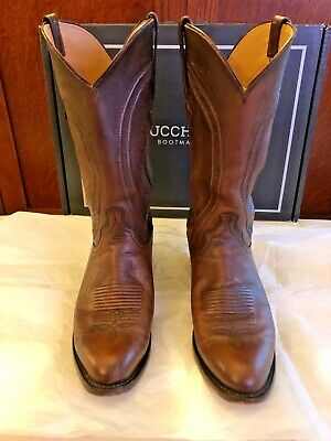 WOW! Lucchese Men's Clint R Toe Western Boot Antique Peanut Brittle Mad Dog 9.5