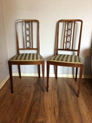Chairs Need Tlc Moderate Price Preloved Pair Of Un Matched Solid Wood Edwardian Chairs