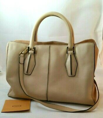 7108cb129b Tods D Styling Peach Beige Leather Tote Shoulder Crossbody Hand Bag  Authentic