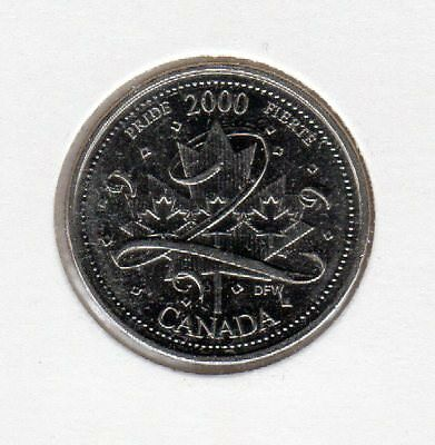 2000 Canada 25 Cents Nickel Coin Millennium Pride Uncirculated from Roll