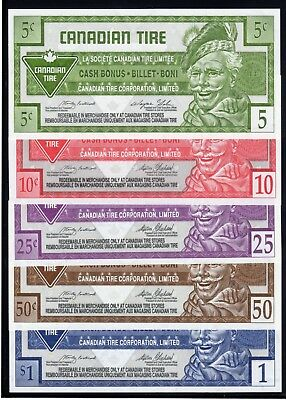 Canadian Tire 5 Different Cash Bonus Money these are in fine condition used #10