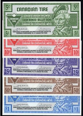 Canadian Tire 5 Different Cash Bonus Money these are in fine condition used #13