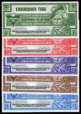 Canadian Tire 5 Different Cash Bonus Money these are in fine condition used #14