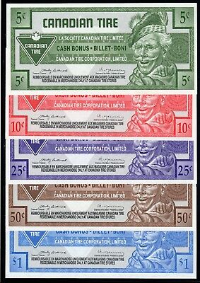 Canadian Tire 5 Different Cash Bonus Money these are in fine condition used #15