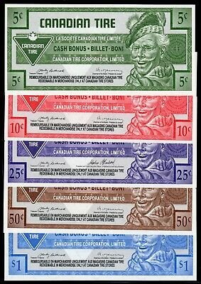 Canadian Tire 5 Different Cash Bonus Money these are in fine condition used #16