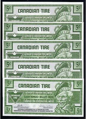 Canadian Tire 5 Cash Bonus all the same - these are in fine condition used # 21