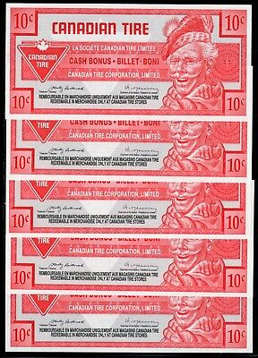 Canadian Tire 5 Cash Bonus all the same - these are in fine condition used # 26