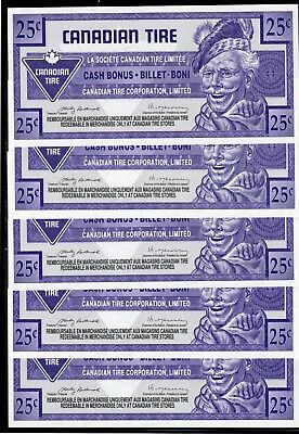 Canadian Tire 5 Cash Bonus all the same - these are in fine condition used # 29