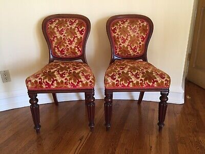 2 Matching Antique Wooden Chairs with Velvet Upholstery
