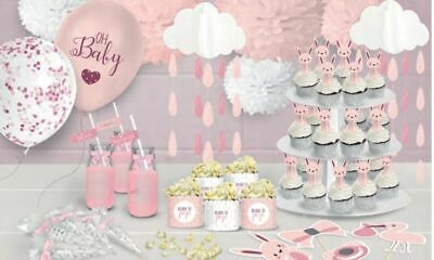 Oh Baby Range Pink Girls - Baby Shower Venue Table Decorations Balloons Bunting