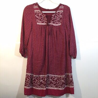 d0b8c9a6931 Old Navy Women's Paisley Red Floral Boho Tunic Blouse Size Small Tassel Tie  Top