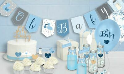 OH BABY RANGE BLUE BOYS - Baby Shower Venue Table Decorations Balloons Bunting