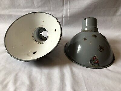 Vintage Industrial Pair Of Grey Pendant Enamel Light Shades Antique Lighting