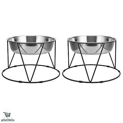 2-Pack Pet Bowl Dog Cat Food Water Raised Stand Pair Elevated Twin Steel Double