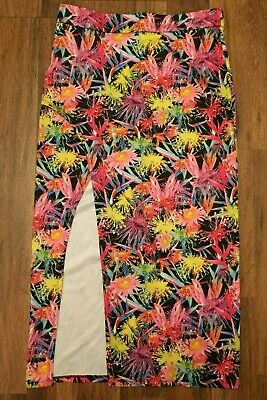 Fashion Line Ladies Skirt Size Large Colorful Bright Neon Floral Sexy High Slit