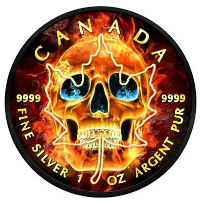 2018 1 Ounce Burning Skull Maple Leaf Colored Ruthenium Silver Coin
