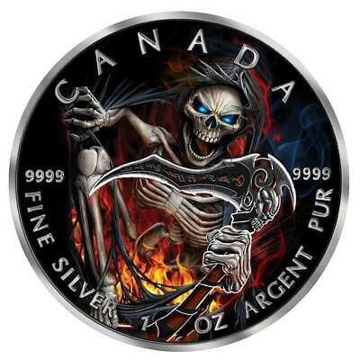 2018 1 Ounce Apocalypse Grim Reaper III Maple Leaf Colored Ruthenium Silver Coin