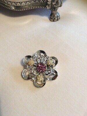Vintage Estate Jewellery- Silver And Pink Rhinestone Brooch