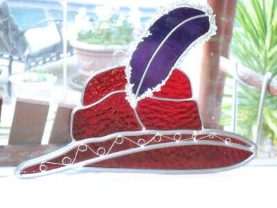 RED HAT SOCIETY Item Stained Glass Suncatcher 8 x 11 Red Purple Hat