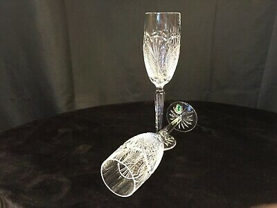 """Waterford Crystal Seahorse Champagne Toasting flutes pair (2) two 9 1/2"""" tall"""