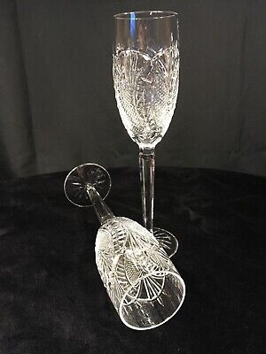 Waterford Crystal Seahorse champagne flutes pair (2) - tiny flaw on one stem
