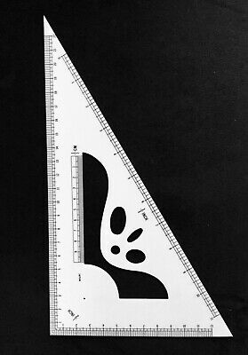 1/2 SCALE TRIANGLE RULER **New** Inches and Centimeters