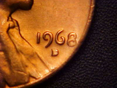1968-D/D Rpm Lincoln Cent - Clogged D - Bu Red Neat Variety! - Aa510Xxx