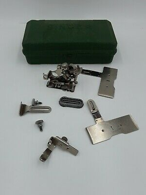 Vintage Mixed Lot Singer Sewing Attachments And Green Singer Box