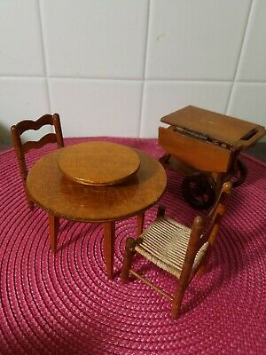Vintage wood dining room set and buffet doll furniture miniature