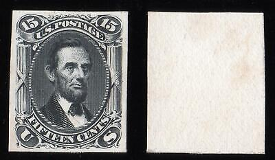 1862-66 15c LINCOLN US STAMP - IMPERF PLATE PROOF on CARD - SUPERB as MADE MNH