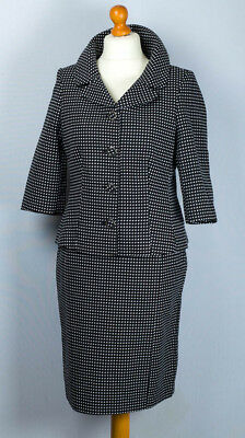 """NEW ! """" Klass """" 1950's styled Black& white small checked two piece suit. UK 12."""