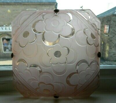 Original Art Deco Pressed Glass Ceiling Light Shade Pink with Flowers