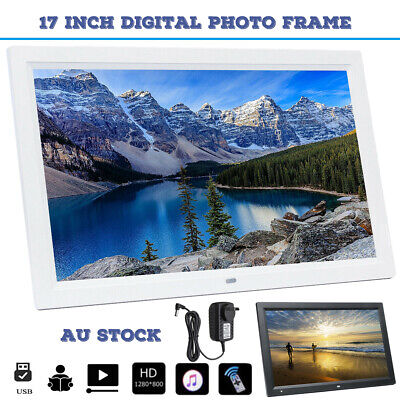 "17"" HD 1080P LED Digital Photo Picture Frame Movie Player Video Remote Control"