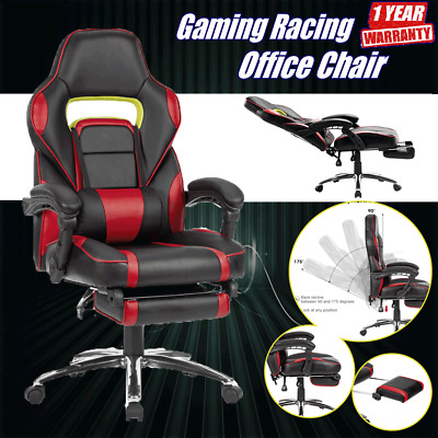 PU Leather Computer Office Chair Ergonomic Sport Gaming Racing Recliner Footrest