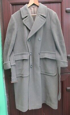 """Heavy Wool Dbl-Breasted 1940s Overcoat - 44"""" Chest"""
