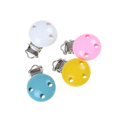 2pcs Wooden Baby infant Pacifier Holder Clip Infant Cute Round Nipple Clasps FEH