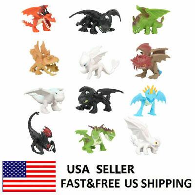 How To Train Your Dragon Light Night Fury Toothless Action Figure Doll Toy 12PCS