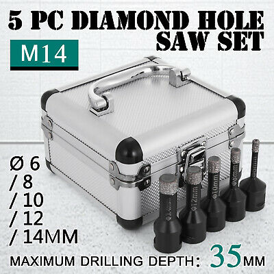 5PCS Diamond Holesaw Set Ø 6/8/10/12/14mm M14 Portable Stoneware Vacuum Brazed