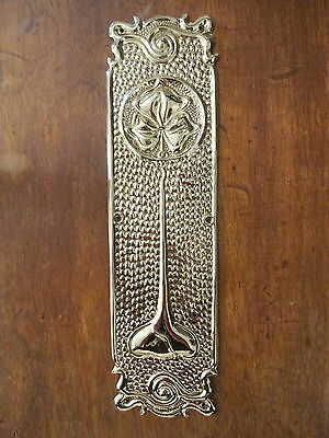 Brass Art Nouveau Finger Door Push Plate Fingerplate Plate Knobs Handles