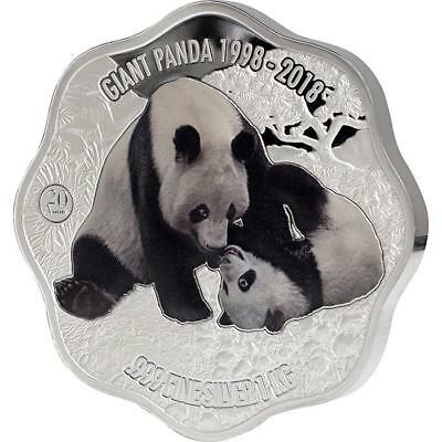 2018 Fiji 1 KG 20th Anniversary Giant Panda Blossom Shaped Colored Silver Coin