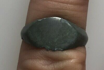 Ancient Artifact > Medieval Bronze Finger Ring SZ: 9 US, 19mm VV60J