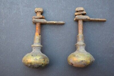 Pair Reclaimed Victorian Period Brass Twist to Close Cupboard Door Knobs vintage