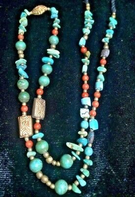 Wondeful Combination! Ancient Turquoise Red Coral 18k Gold Silver Bead Necklace